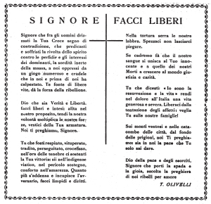 """La """"Preghiera del Ribelle"""" di Teresio Olivelli nella redazione uscita sul n. 26 del giornale clandestino """"il ribelle"""""""
