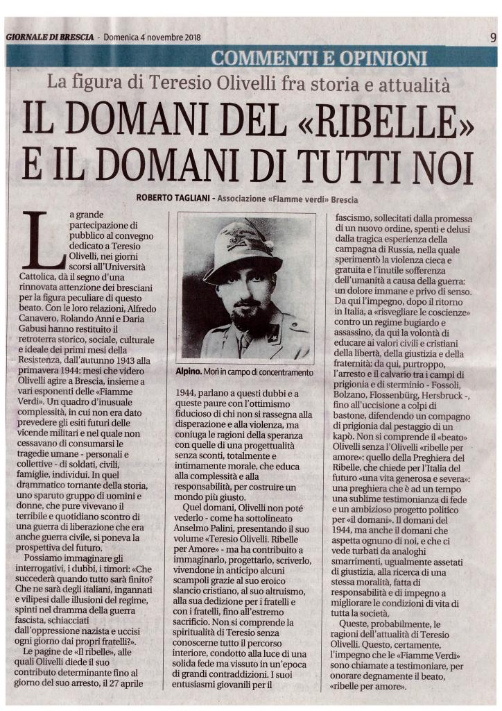 """""""Giornale di Brescia"""", 04.11.2018, p. 9"""