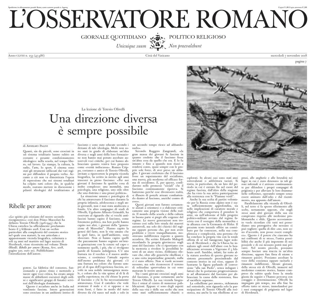 """L'Osservatore Romano"", mercoledì 7 novembre 2018, p. 7"